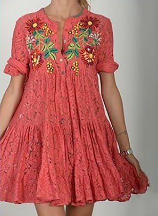 Floral Embroidery Half Sleeve A-line Dress