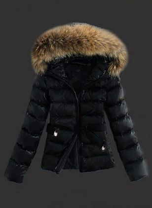 Long Sleeve Hooded Sashes Zipper Unremovable Fur Collar Padded Coats (4101288)
