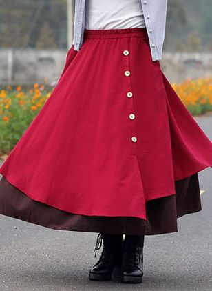 Color Block Maxi Casual Buttons Skirts