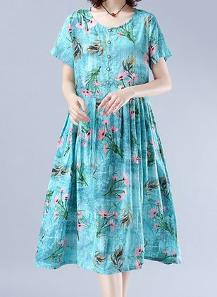 Casual Floral Tunic Round Neckline Shift Dress (4363303)