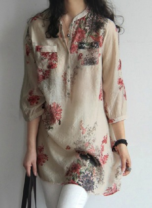 Floral Casual Cotton Round Neckline 3/4 Sleeves Blouses