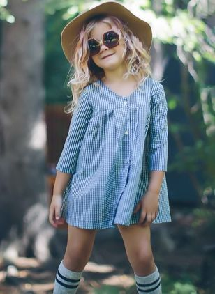 Girls' Casual Plaid School 3/4 Sleeves Dresses