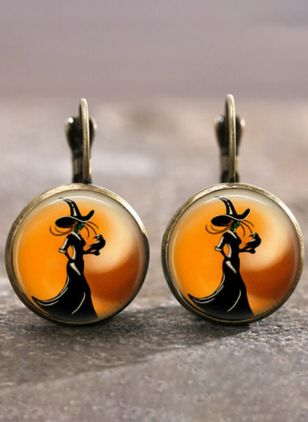 Halloween Round No Stone Hoop Earrings (107805721)