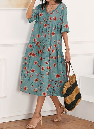 Casual Floral Tunic V-Neckline A-line Dress (1609726)
