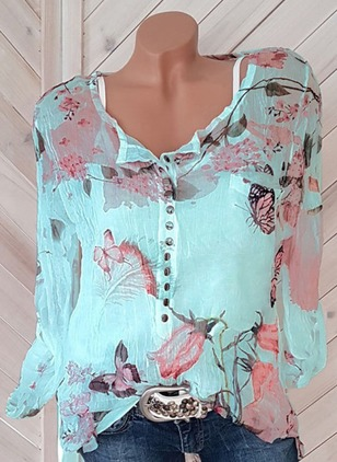 Floral Chiffon V-Neckline Long Sleeve Blouses