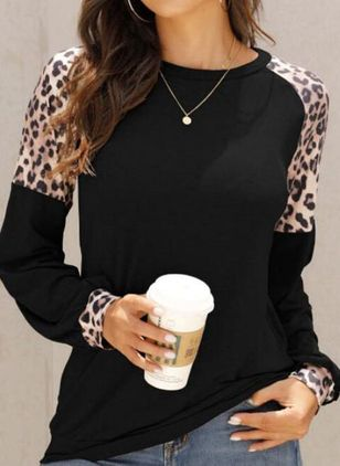 Leopard Round Neck Long Sleeve Casual T-shirts (107804701)