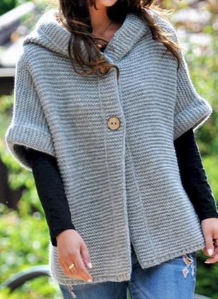 Half Sleeve Hooded Buttons Sweaters Coats (1384501)
