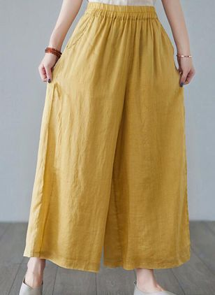 Casual Loose High Waist Polyester Pants (147221475)