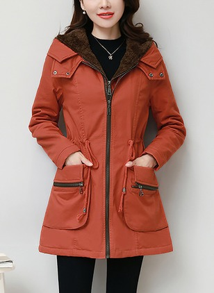 Cotton & Cotton Blend Long Sleeve Hooded Zipper Duffle Coats Coats