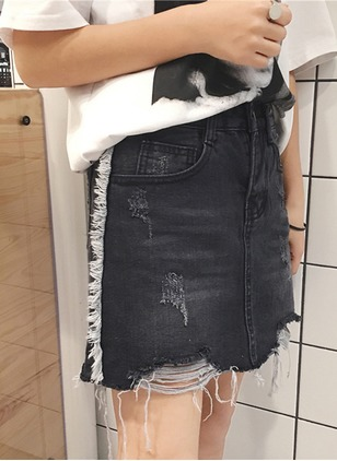 Denim Solid Above Knee Casual Hollow Out Skirts