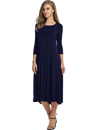 Casual Solid Round Neckline Midi A-line Dress (1270041)