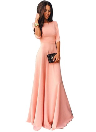 Chic Solid Off the Shoulder Maxi X-line Dress (1016382)