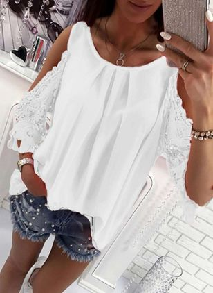 Solid Cute Round Neckline 3/4 Sleeves Blouses