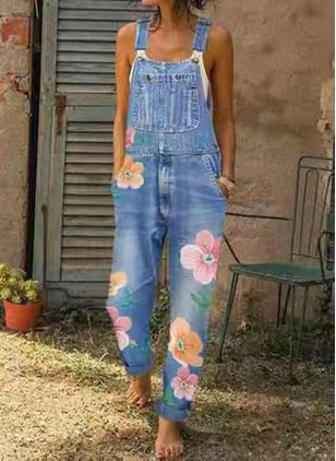 Women's Straight Jeans Jumpsuits (1531909)