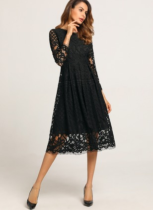Solid Lace Long Sleeve Midi A-line Dress