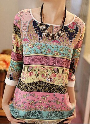 Geometric Casual Cotton Round Neckline 3/4 Sleeves Blouses