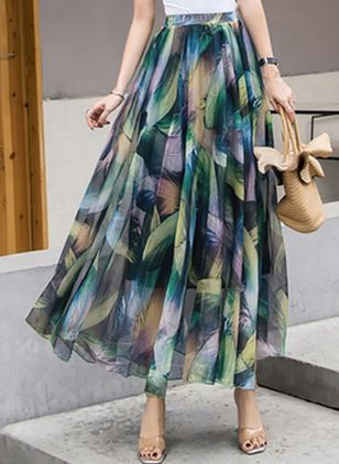 Floral Maxi Casual Skirts (147076466)