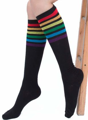 Women's Casual Polyester Socks & Hosiery Knee High Stockings Socks (111853015)