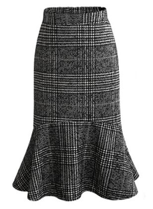 Check Mid-Calf Elegant Skirts