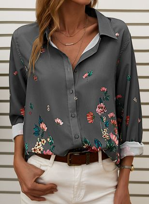 Floral Casual Collar Long Sleeve Blouses (109973723)