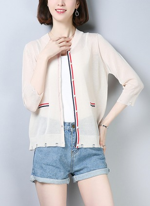 Polyester 3/4 Sleeves Round Neck Jackets