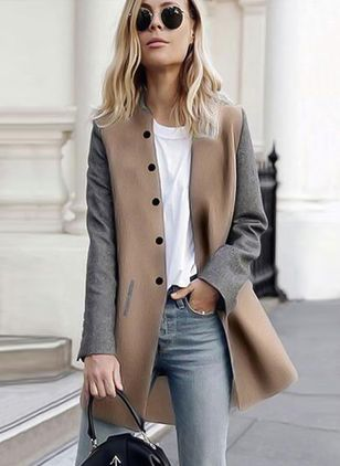 Long Sleeve Collarless Buttons Coats
