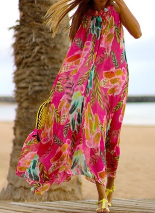 Chiffon Floral Sleeveless Maxi Shift Dress