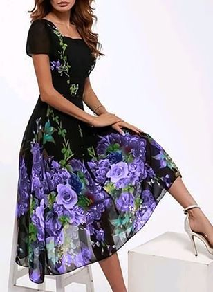 Elegant Floral None Square Neckline A-line Dress (1042451)