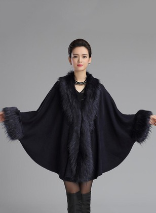 Acrylic Long Sleeve Lapel Ruffles Coats