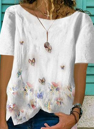 Floral Round Neck Short Sleeve Summer T-shirts (1501317)