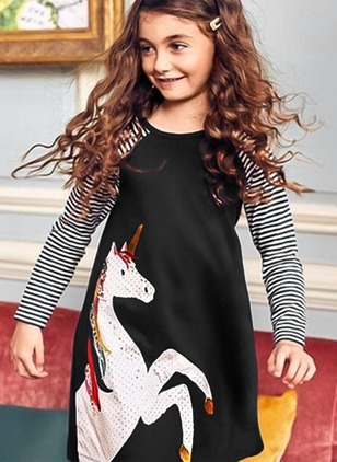 Girls' Animal Daily Long Sleeve Dresses