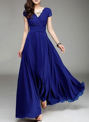 Solid V-Neckline Cap Sleeve Maxi A-line Dress (1286146)
