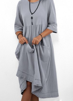 Casual Solid Tunic Round Neckline Shift Dress (4049105)
