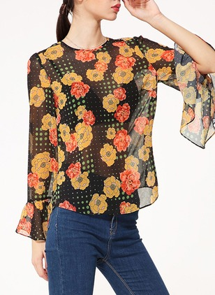 Polyester Floral Round Neck Long Sleeve Casual T-shirts