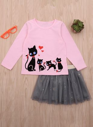 Girls' Cute Animal Long Sleeve Clothing Sets