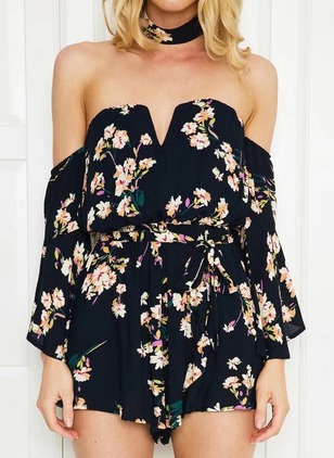 Cotton Floral Long Sleeve Backless Jumpsuits & Rompers