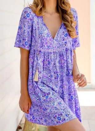 Casual Floral Tunic V-Neckline A-line Dress (104534318)