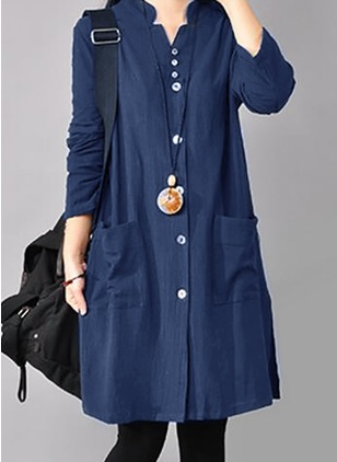 Cotton Linen Solid Long Sleeve Knee-Length Dresses