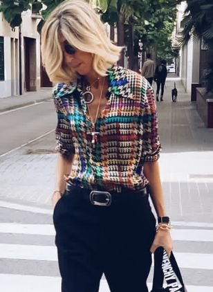Tartan Casual Collar Long Sleeve Blouses