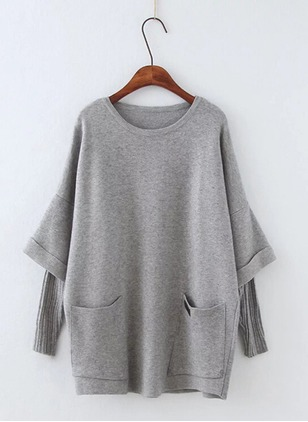 Round Neckline Solid Loose Pockets Sweaters