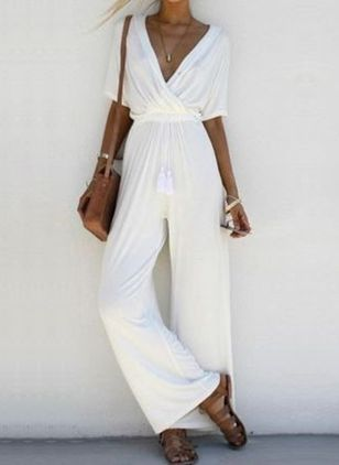Solid Short Sleeve Jumpsuits & Rompers (1516727)