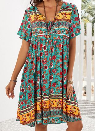 Casual Floral Tunic V-Neckline Shift Dress (4662300)