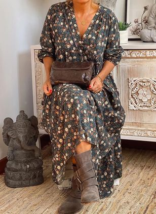 Robes Boho Florale Manches longues Maxi (146655339)