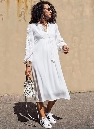 Solid Tassel Long Sleeve Midi Shift Dress