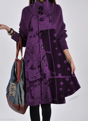 Long Sleeve High Neckline Buttons Coats (128229370)