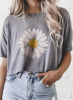 Floral Casual Round Neckline Short Sleeve Blouses (4134870)
