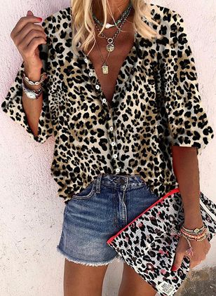 Leopard Casual Collar 3/4 Sleeves Blouses (1510395)