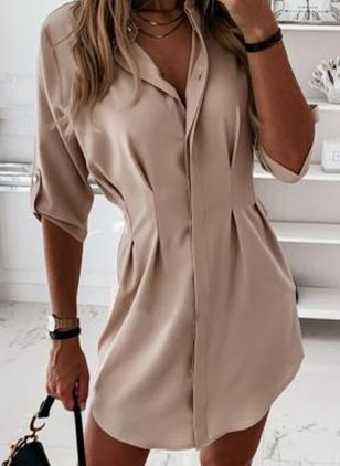 Chic Solid Shirt Collar X-line Dress (4043680)