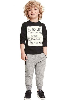Boys' Casual Alphabet Daily Long Sleeve Clothing Sets