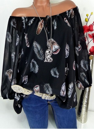 Floral Polyester Boat Neckline 3/4 Sleeves Blouses